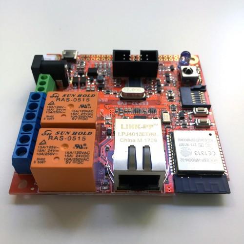 ESP32-EVB (ESP32 with Ethernet, CAN, IR, Relays)